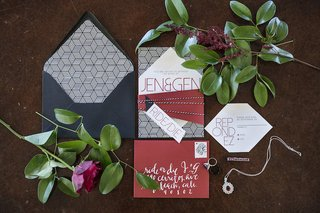 wedding-invitation-suite-in-red-black-white-with-geometric-shapes-patterns