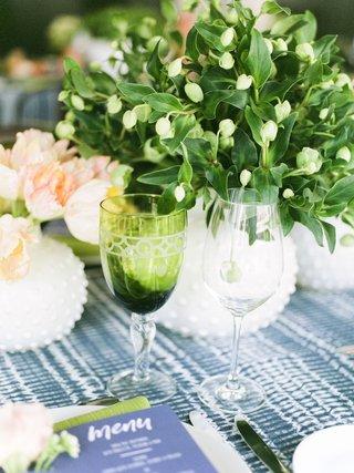 wedding-event-bridal-shower-glassware-green-goblet-greenery-centerpiece-linen-napkin-menu-card-blue