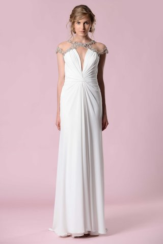 gemy-maalouf-2016-sheath-wedding-dress-gathered-at-belly-button-and-jewel-sleeve-details