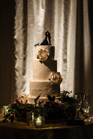 four-tiered-wedding-cake-bridal-gown-lace-pattern-pale-gold-sugar-flowers-silhouette-cake-topper