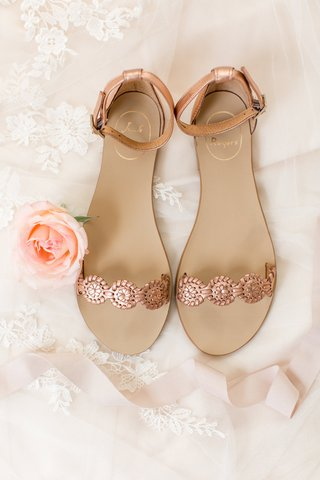 rose-gold-flat-wedding-sandals-strap-ankle-strap-bridal-flats-wedding-shoes