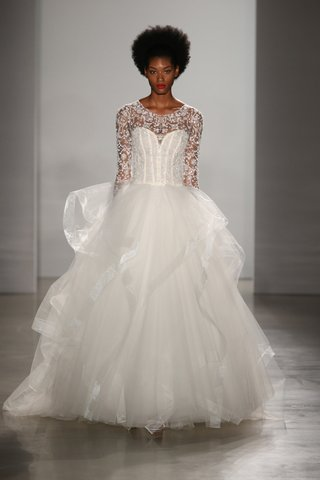 kenneth-pool-fall-2016-ball-gown-with-ruffle-skirt-corset-bodice-and-long-sleeves