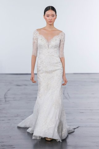dennis-basso-for-kleinfeld-2018-collection-wedding-dress-three-quarter-sleeve-gown-lace-v-neck