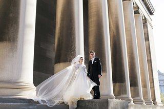 bride-groom-standing-church-steps-catholic-roman-chapel-veil-pillars-pittsburgh
