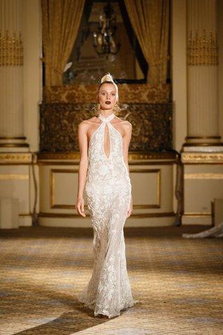 berta-spring-summer-2018-fitted-halter-gown-deep-neckline-slit-floral-appliques