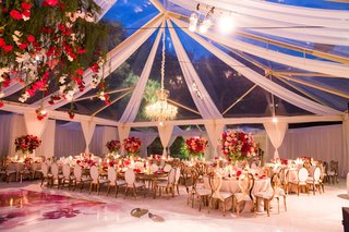 wedding-reception-clear-tent-drapery-chandelier-flower-chandelier-gold-chairs-pink-centerpieces