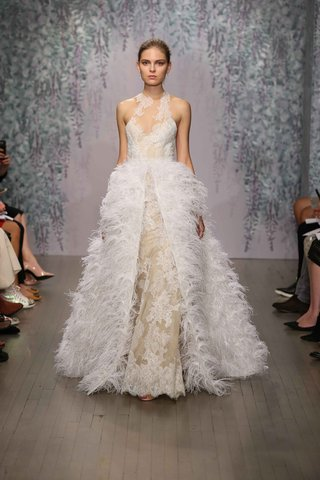 ivory-high-neck-wedding-dress-with-feather-overskirt