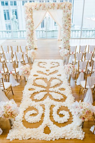 white-blush-gold-wedding-ceremony-decorations-with-intricate-flower-petal-pattern-aisle-runner