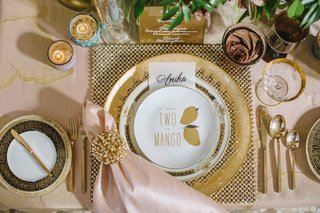quirky-wedding-inspiration-salad-plates-with-puns-gold-flatware-gold-napkin-ring