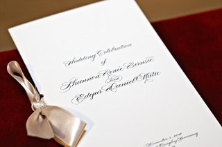 simple-wedding-program-with-tan-satin-ribbon
