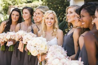 bride-with-bridesmaids-in-dark-grey-dresses