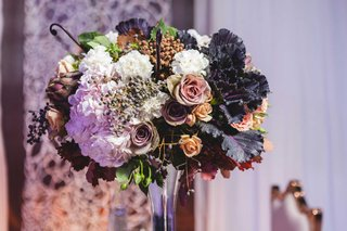 colorful-floral-centerpiece-fall-autumn-wedding-reception-styled-shoot-fake-black-white-flowers-rose