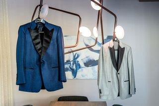 deep-blue-tuxedo-jacket-with-black-lapels-grey-tuxedo-jacket-with-black-lapels-gay-wedding-outfits