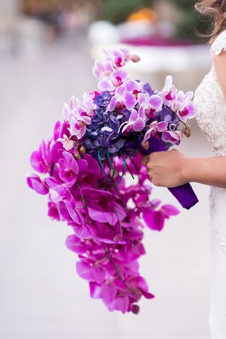 cascading-orchid-bouquet-in-shades-of-purple-violet-fuchsia
