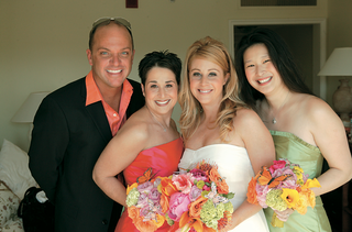bride-and-bridesmaids-carry-brightly-colored-bouquets