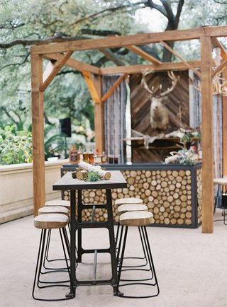 wedding reception cocktail hour his station rustic design wood bar stools and deer head whiskey