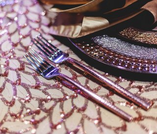 detailed-sequin-table-linen-copper-wedding-styled-shoot-purple-metallics-silverware-sparkly