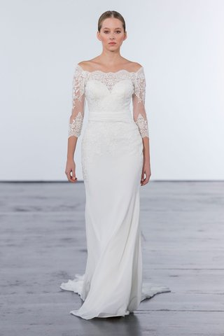 dennis-basso-for-kleinfeld-2018-collection-wedding-dress-off-shoulder-lace-gown-three-quarter-sleeve