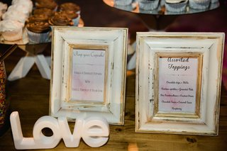 wedding-dessert-table-cupcake-stand-with-framed-signs-featuring-additional-toppings-and-cupcake