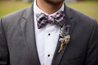groomsman-in-plaid-bow-tie-with-dusty-miller