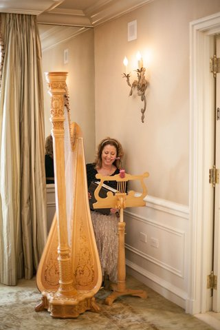 woman-playing-harp-at-the-magnolia-room-bridal-shower-at-peninsula-beverly-hills