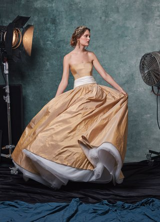 sareh-nouri-fall-2019-bridal-collection-wedding-dress-lucille-gold-strapless-taffeta-gown