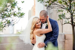 bride-in-blush-by-hayley-paige-groom-in-navy-tuxedo