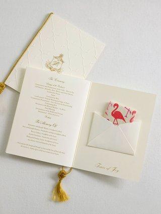 wedding-ceremony-program-book-fold-gold-white-ivory-tears-of-joy-flamingo-print-tissues-gold-tassel