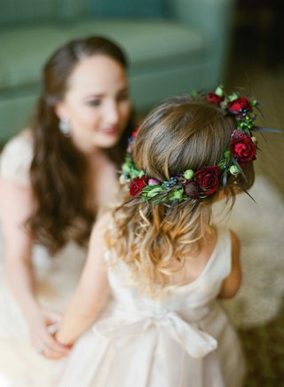 colorful-floral-crown-flower-girl-red-pink-purple-green-roses-thistles-bohemian-chic-natural-beauty