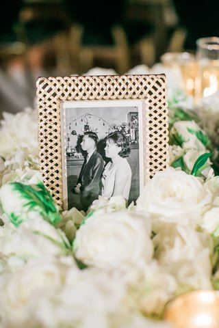 picture-of-bride-and-groom-displayed-at-their-50th-anniversary-party