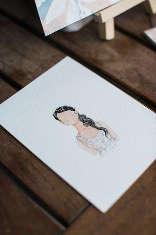 small-watercolor-portrait-of-bride-at-bridal-shower-watercolor-portrait-bridal-shower-activity
