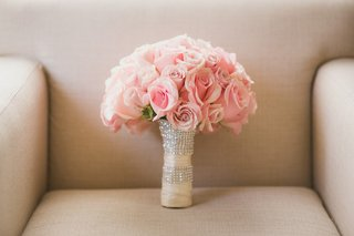 bridal-bouquet-with-light-pink-roses-ivory-ribbon-wrap-and-crystal-bands