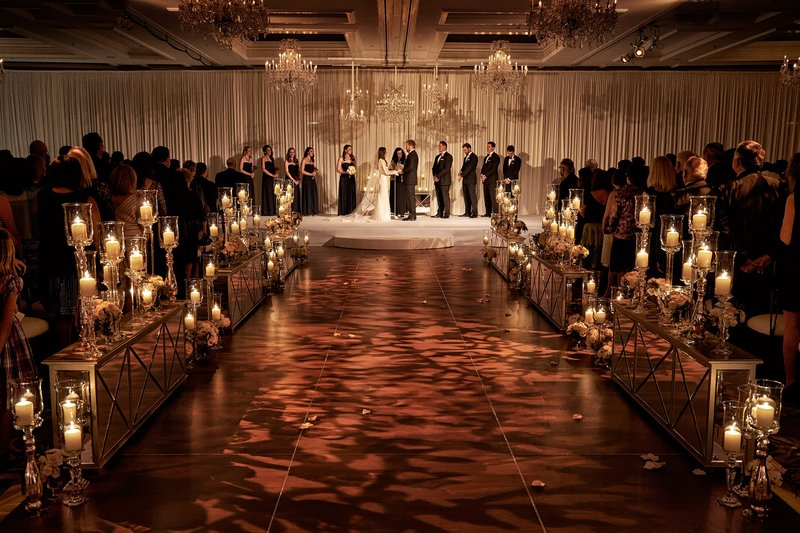 wedding ceremony aisle decorations mirror decor and light projections