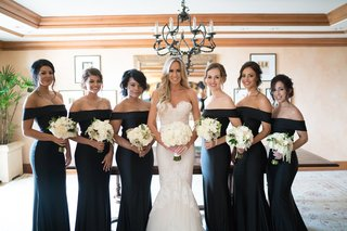 stephanie-ming-with-bridesmaids-in-off-the-shoulder-black-long-dresses-white-bouquets-greenery-updos