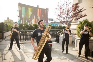 wedding-reception-ceremony-idea-street-band-in-brooklyn-performing-for-guests-who-were-early