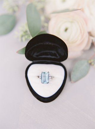 wedding jewelry light blue center stone emerald cut in velvet ring box something blue wedding ring