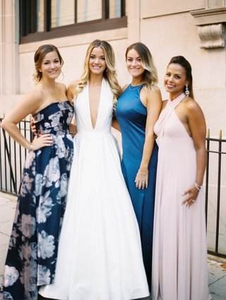bride-in-romona-keveza-a-line-gown-plunging-neckline-with-friends-no-bridesmaids