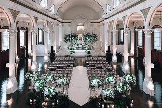 vibiana-indoor-wedding-ceremony-indoor-wedding-with-white-and-green-floral-arrangements