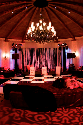 wedding-band-stage-in-front-of-black-and-white-checker-flooring