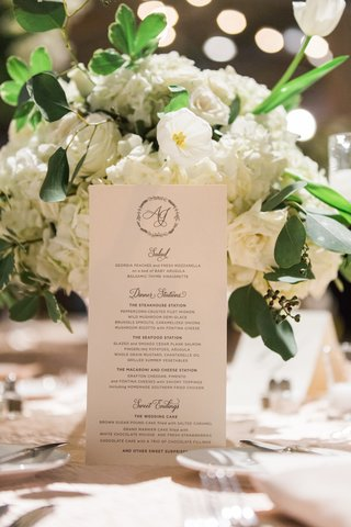 white-itinerary-with-cursive-font-in-front-of-white-flowers-and-green-leaves