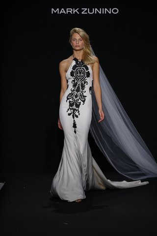 mark-zunino-for-kleinfeld-2016-halter-neck-wedding-dress-with-black-damask-print