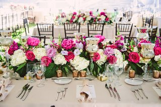 wedding-reception-tent-beige-linen-rose-gold-candle-votive-flower-runner-pink-peony-rose-white