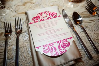 wedding-menu-card-in-hot-pink-on-satin-napkin