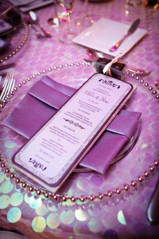wedding-menu-card-with-purple-details-and-rhinestones