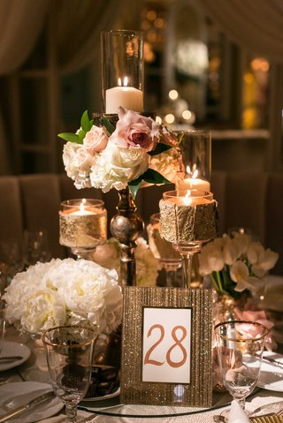 low-centerpiece-peony-flowers-roses-gold-birch-bark-blush-white-sahara-rose-decorations