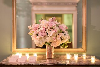 wedding-reception-small-arrangement-of-ivory-hydrangea-pink-rose-white-pink-flowers-candles-cards