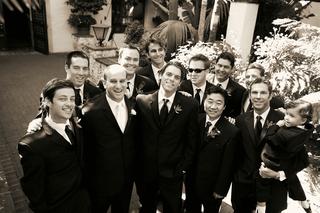 black-and-white-photo-of-groomsmen-and-ring-bearer