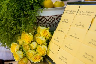 wedding-reception-table-with-yellow-place-cards-and-roses