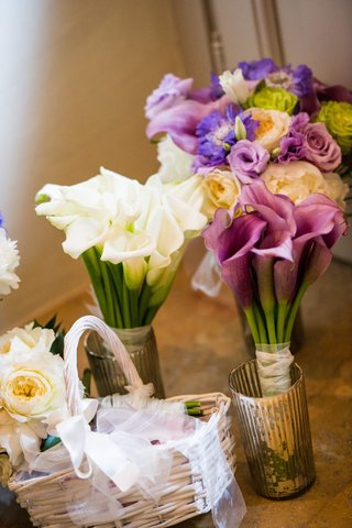 bouquets-of-white-and-pink-lilies-and-bouquet-of-purple-green-and-white-flowers