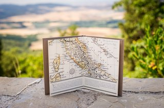hardbound-booklet-opened-to-a-map-of-italy
